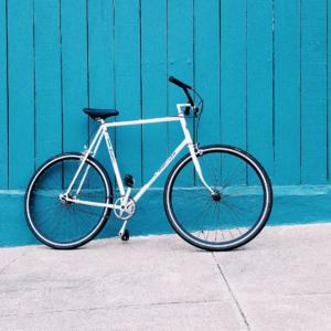 student bike outside student accommodation